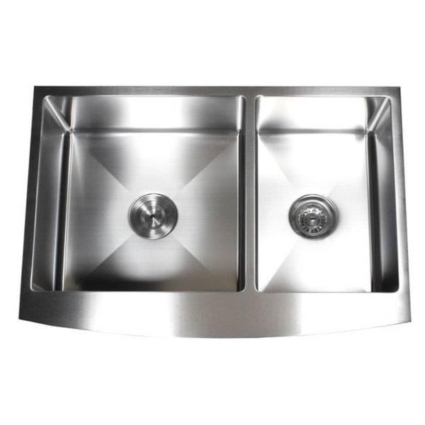 36-inch 15mm Curved Front Farm Apron 60/40 Double Bowl Kitchen Sink