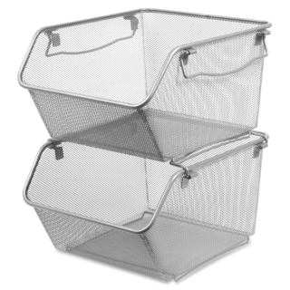 Lorell Silver Mesh Large Stacking Storage Bins (Set of 2)