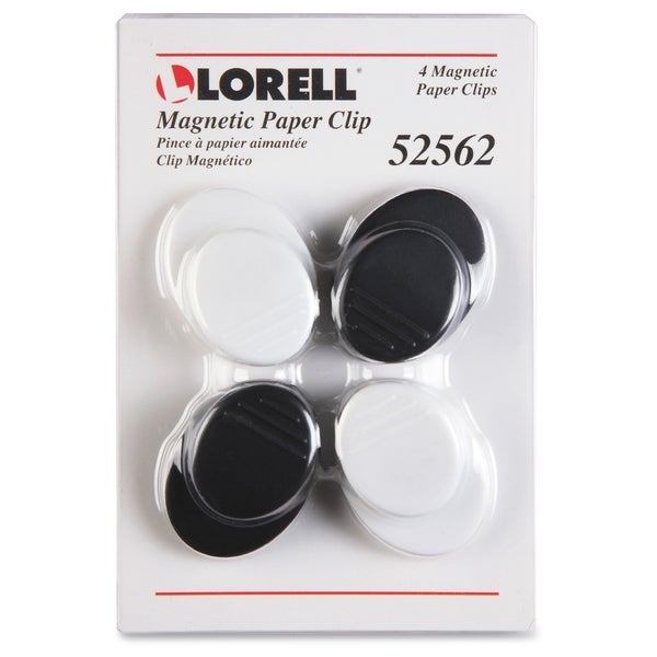 Lorell Plastic Cap Magnetic Paper Clips - (4/Pack)