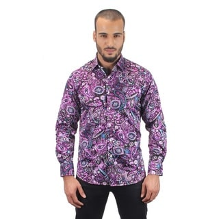 Suslo Couture Men's Garet Purple Button Down