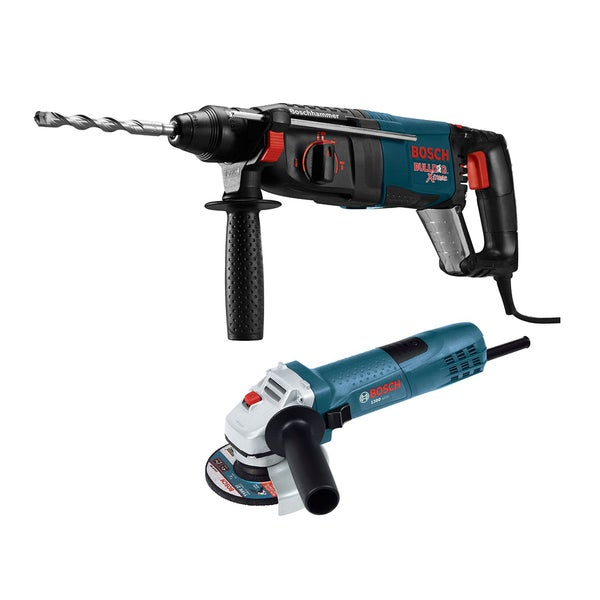 Bosch BULLDOG Xtreme 1-Inch SDS-plus D-Handle Rotary Hammer + 4.5-Inch Small Angle Grinder