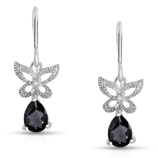 Dolce Giavonna Sterling Silver Black Spinel and Diamond Accent Butterfly Dangle Earring (I-J, I2-I3)