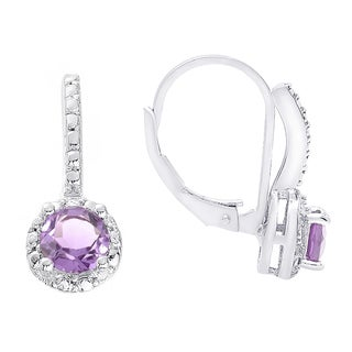 Dolce Giavonna Sterling Silver Amethyst and White Topaz Leverback Earrings