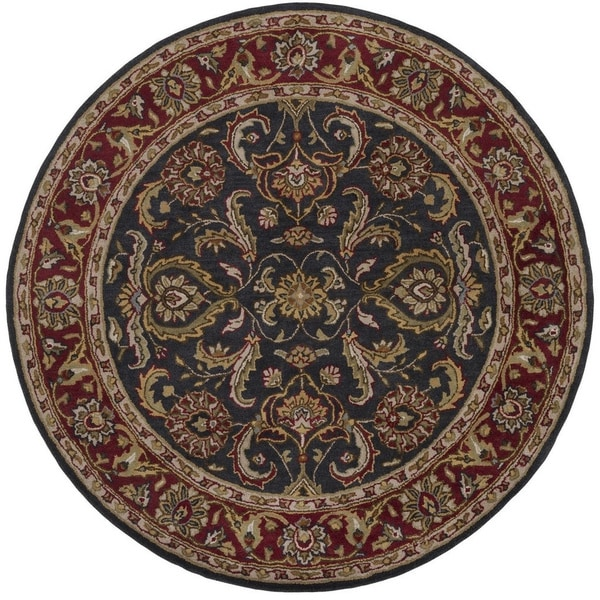 Hand Tufted Agra Red Gold Wool Rug 8 Round: Hand-Tufted Alexa Wool Rug (6' Round)