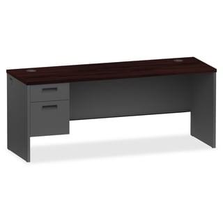 Lorell 72-inch Mahogany/ Charcoal Left Pedestal Desk