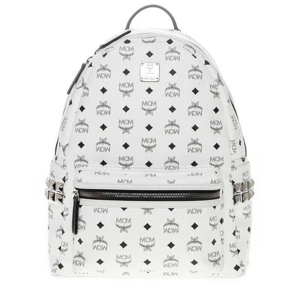 MCM Medium White Stark Studded Backpack