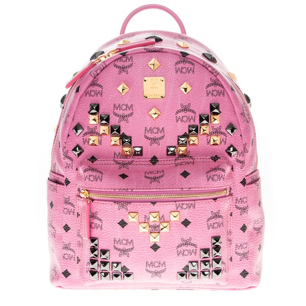 MCM Small Pink Studded Stark Backpack
