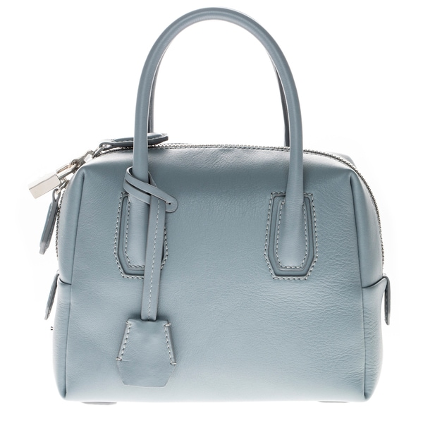 MCM Mini Munich Grey Leather Boston Bag