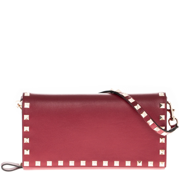 Valentino Red Rockstud Leather Travel Wallet