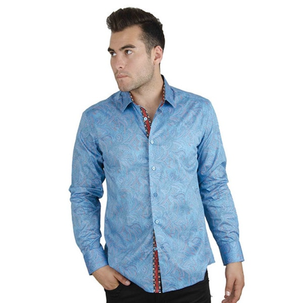 Men's Casual Blue Paisley Long Sleeve Button-up Shirt