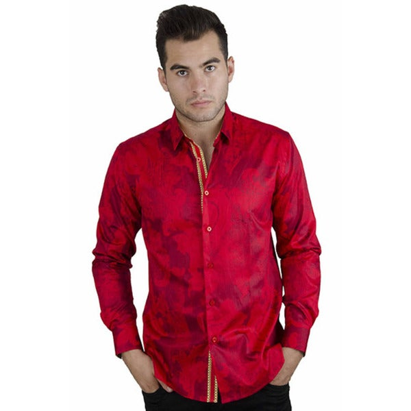 Men's Casual Red Paisley Long Sleeve Button-down Shirt