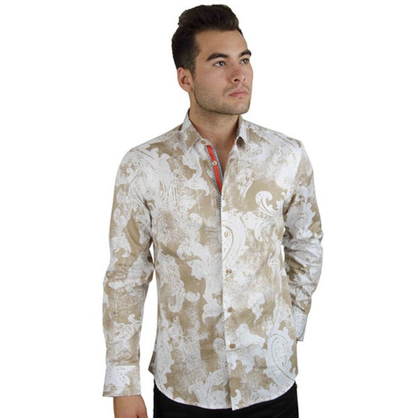 Men's Casual Beige/ White Long Sleeve Button-down Cotton Shirt