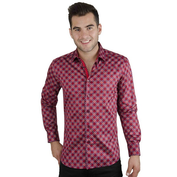Men's Casual Red Gingham Long Sleeve Button-down Cotton Shirt