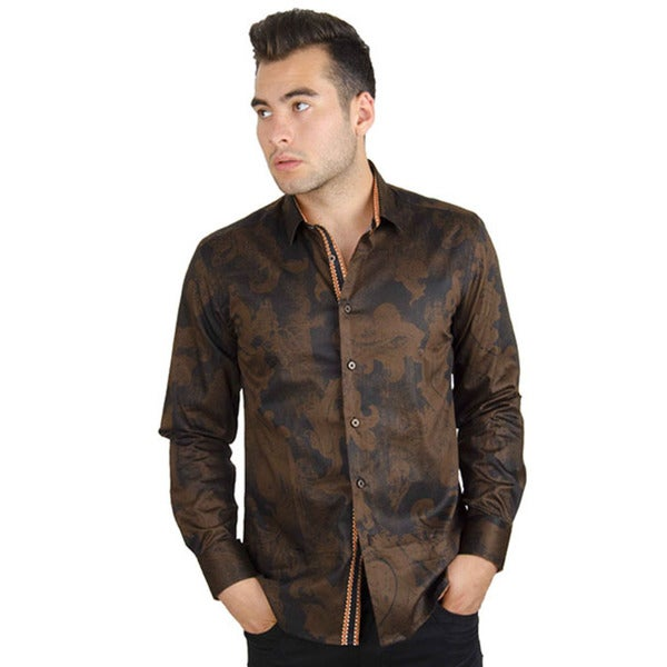 Men's Casual Black/ Brown Long Sleeve Button-down Cotton Shirt