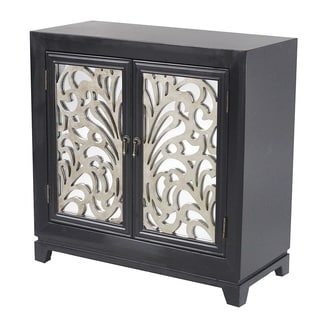 Heather Ann Mirrored Wood Relief 2-door Console Cabinet