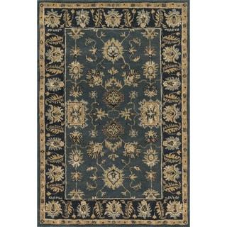 Hand-tufted Wilson Blue/ Navy Wool Rug (5'0 x 7'6)
