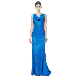 Rene Ruiz Blue Ombre Sleeveless Cowl Neck Column Evening Gown Dress