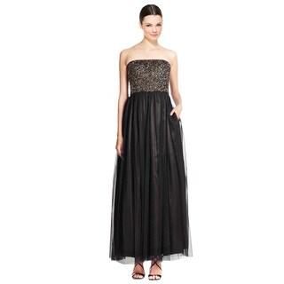 Aidan Mattox Strapless Beaded Tulle Evening Gown Dress