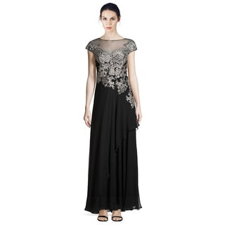 Teri Jon Embroidered Tulle Illusion Evening Gown Dress (Size 6)