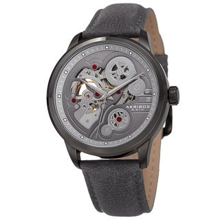 Akribos XXIV Men's Skeleton Automatic Movement Leather Strap Watch