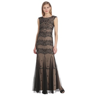 Adrianna Papell Cap Sleeve Long Beaded Evening Gown Dress (Size 6)
