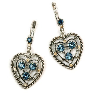 Sweet Romance Pewter Denim Blue Crystal Open Heart Earrings