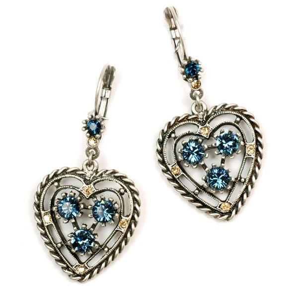 Sweet Romance Pewter Denim Blue Crystal Open Heart Earrings