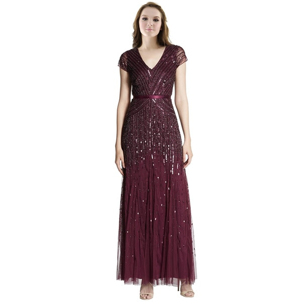 Adrianna Papell Shimmery Embellished Cap Sleeve Evening Gown Dress