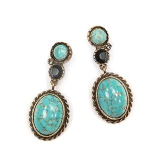 Sweet Romance Pewter and Gemstone Matrix Oval Earrings