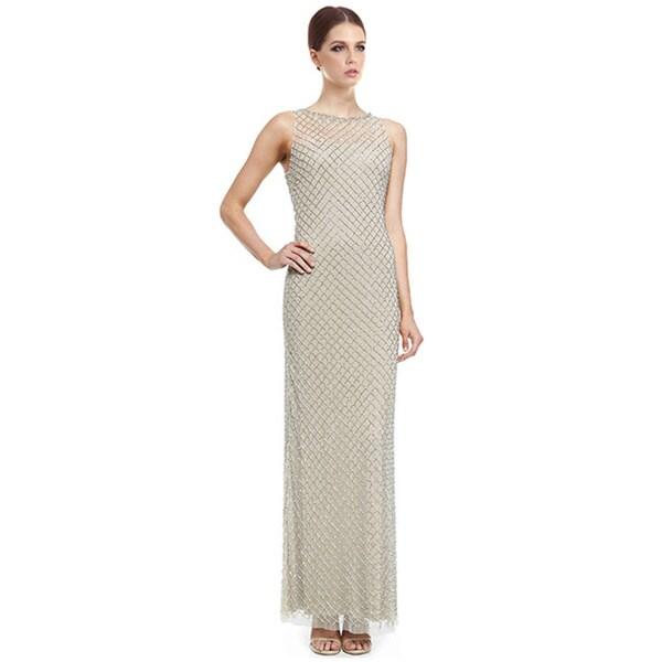 Aidan Mattox Beaded Diamond-Pattern Column Evening Gown Dress