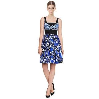Diane Von Furstenberg DVF Sita Silk Wool Bold Floral Hues Pleated Dress