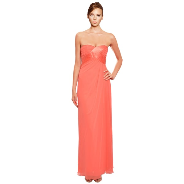 A.B.S. Chiffon Pleated Drape Strapless Evening Gown Dress (Size 0)