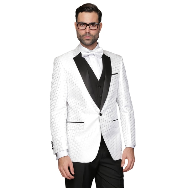 Men's Bellagio-2 White Statement 3-piece Tuxedo Suit