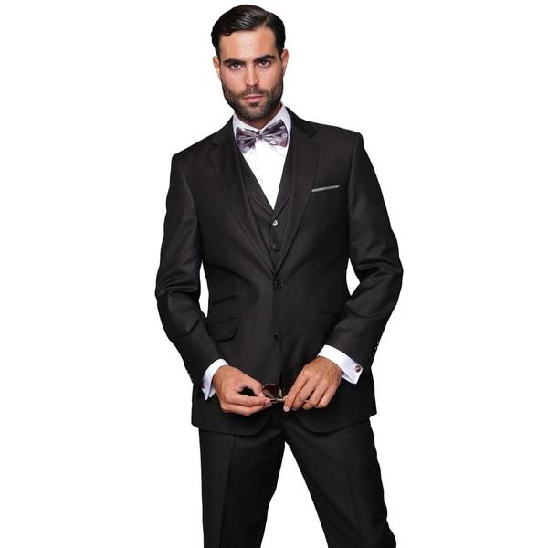 Men's Black Wool 3-piece Single Breasted Suit