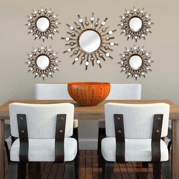 Wall Decor Set Of 5 : Stratton home decor burst wall mirrors set of