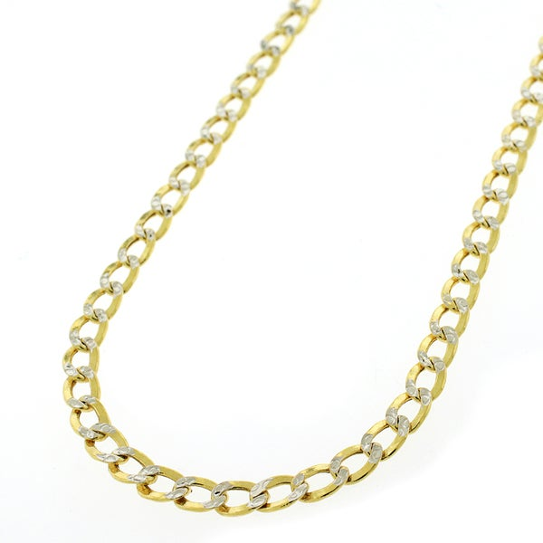 14k Two-tone Gold Hollow Cuban Curb Diamond Cut Pave 4.5 mm Chain Necklace