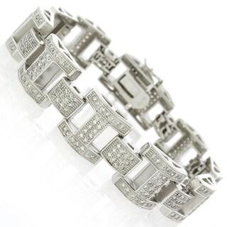 Sterling Silver Men's Cubic Zirconia Fancy Bling Bangle Bracelet