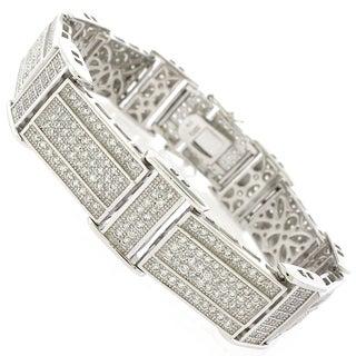 Sterling Silver Men's Cubic Zirconia Rectangle Fancy Bling Bangle Bracelet