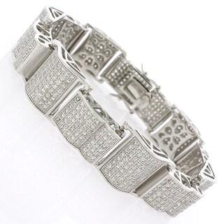 Sterling Silver Men's Cubic Zirconia Curving Fancy Bling Bangle Bracelet