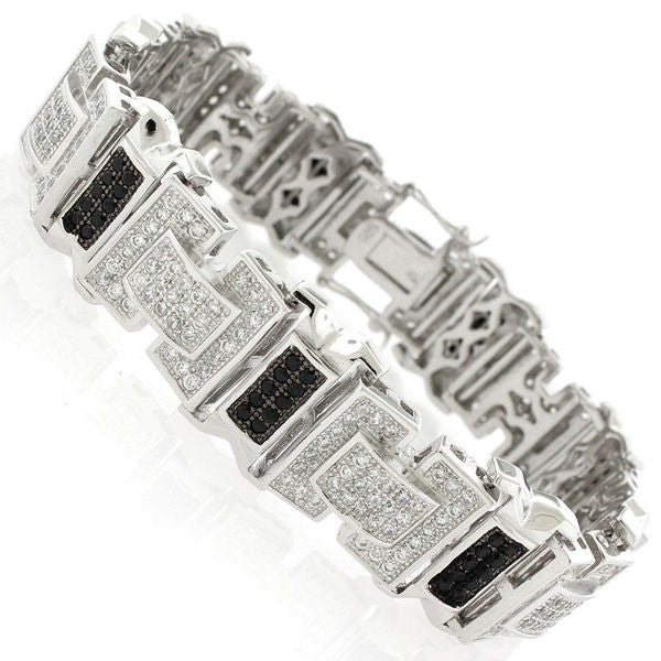 Sterling Silver Men's Black and White Cubic Zirconia Fancy Bling Bangle Bracelet