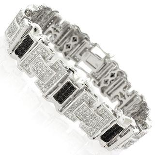 Sterling Silver Men's Black and White Cubic Zirconia Fancy Bling Bangle Bracelet