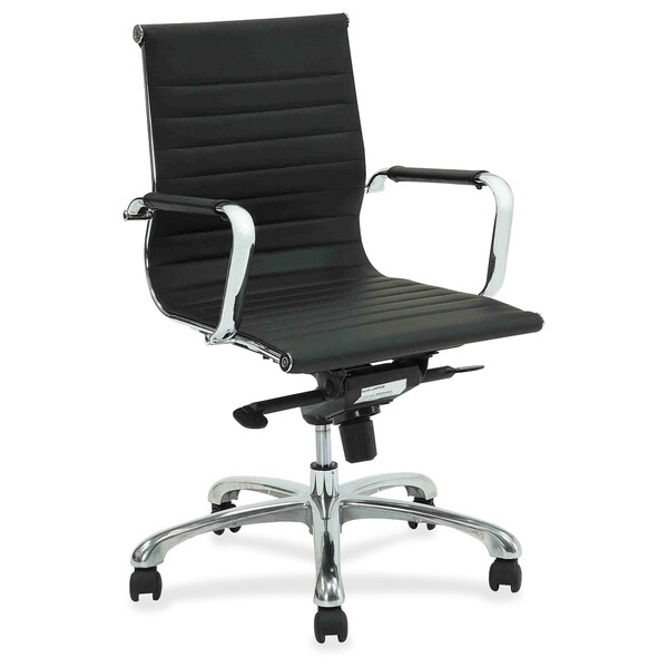 Lorell Modern Chair Series Mid-back Leather Chair - (1/Each)