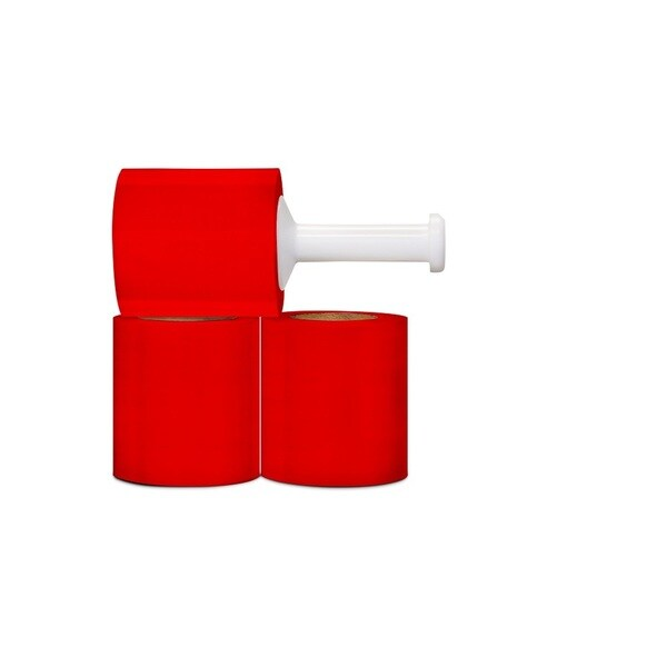 5-inch 1000 FEET 80 GA RED STRETCH WRAP BUNDLING FILM CASE OF 12 ROLLS