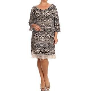 Plus Size Women's Lace Trim Dress