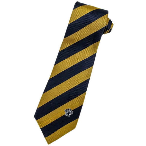 Versace 100-percent Italian Silk Navy Blue/ Gold Stripes Neck Tie