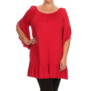 MOA Collection Plus Size Women's Flutter Sleeve Top