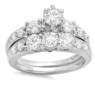 14k White Gold 2ct TDW Diamond Three Stone Bridal Ring Set (H-I, I1-I2)