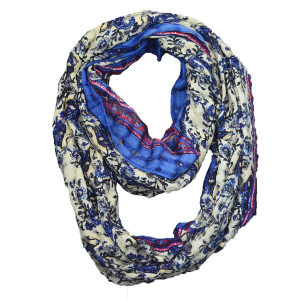 Woven Floral Loop Scarf