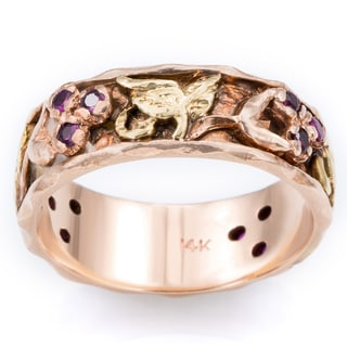 14k Rose Gold and Rubies Floral Vine Antique Carved Band Ring