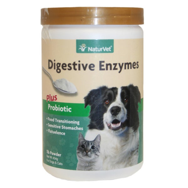NaturVet Digestive Enzymes with Prebiotics and Probiotics Powder